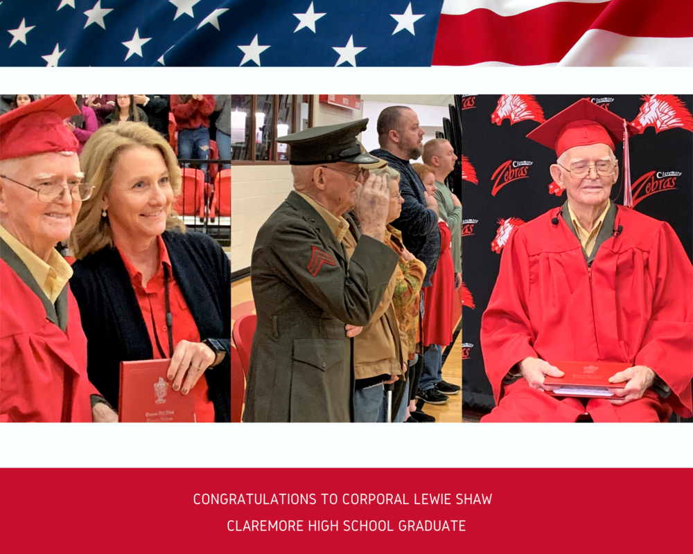 Corporal Lewie Shaw receives HS Diploma after 76 years