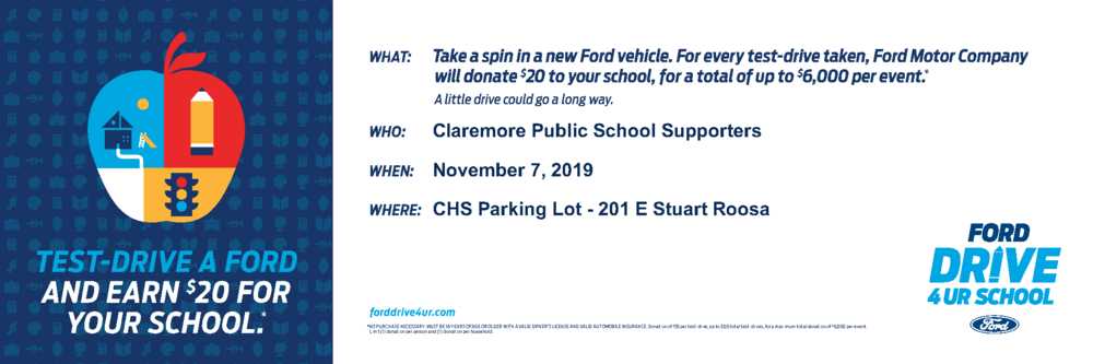 Jack Kissee Ford & Claremore Public Schools Invite you to an exciting fundraiser to support our schools.