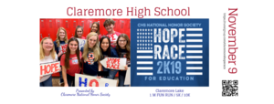"The Hope Race is coming up - ""Run, White, and Blue"" for Education!"
