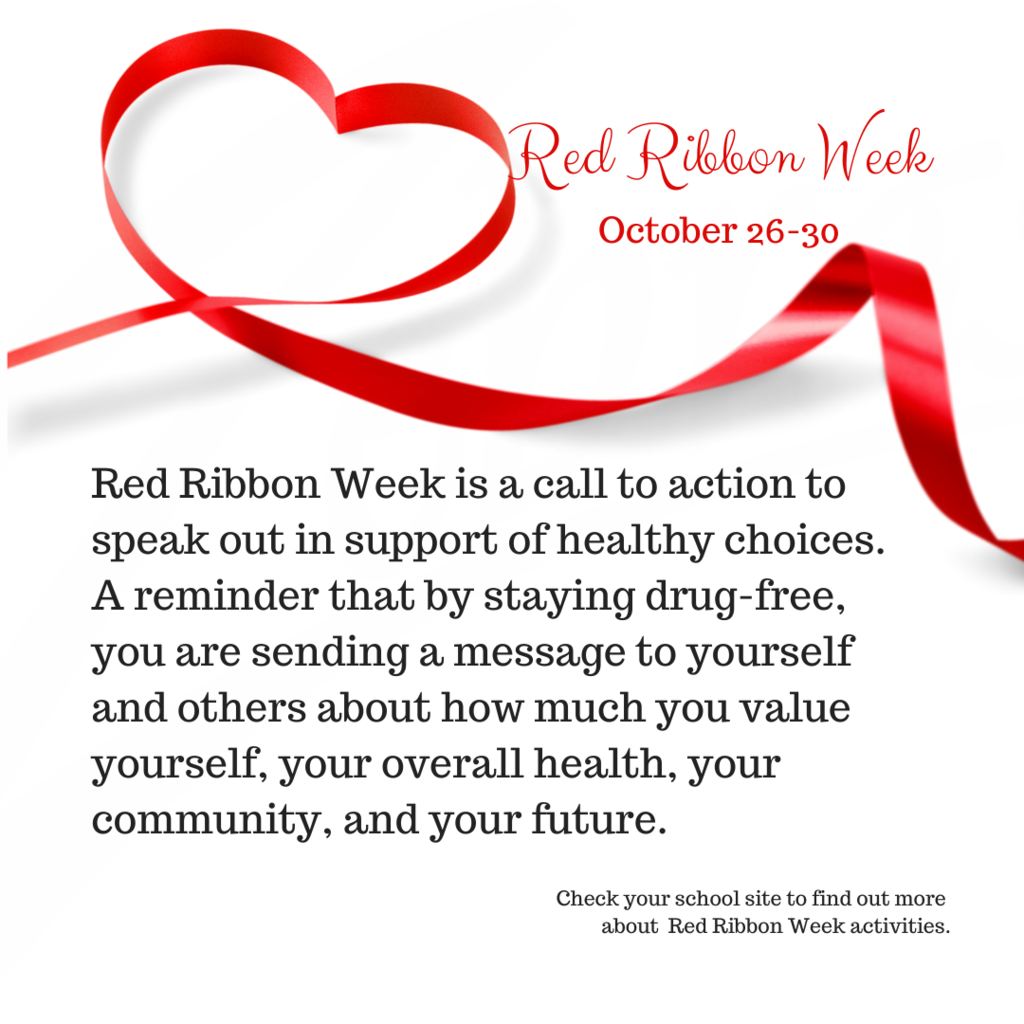 Red Ribbon Week Oct. 26-30, 2020