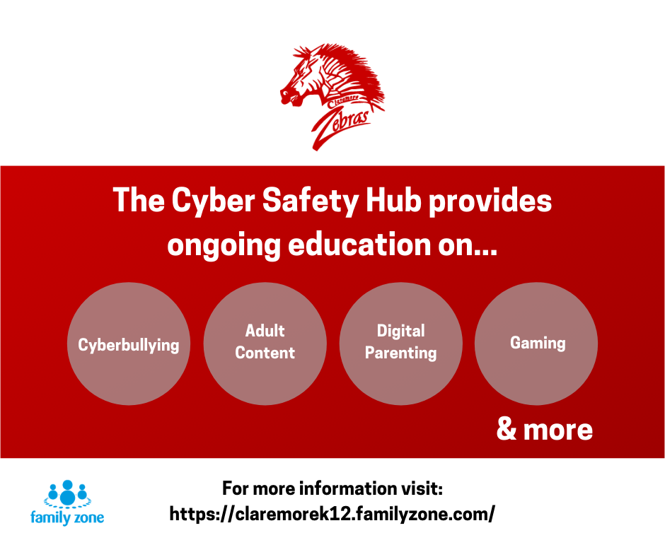 As a parent or caregiver of our school district, you receive free access to the Family Zone Cyber Safety Hub, which includes articles, videos, courses, and more to help monitor and educate on various cyber threats, apps, etc.
