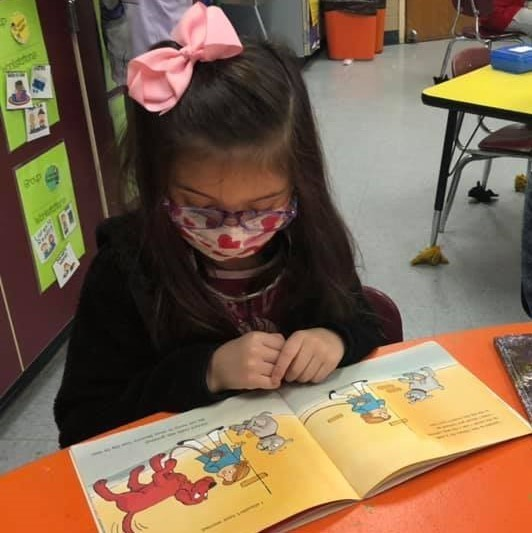Mrs. Book's Curious Characters at Westside are practicing their reading skills in guided groups.