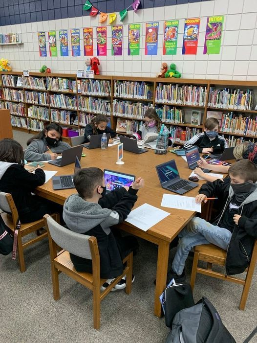4th graders attended a mini-lesson given by Mrs. Troyer our Library Media Specialist, where they learned research skills for their upcoming informational report.