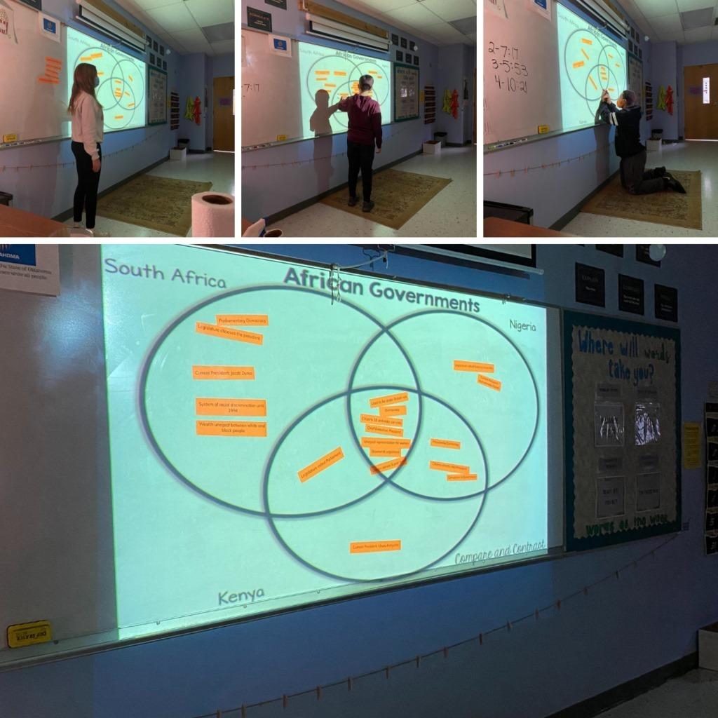 Mrs. Stout's geography students compare and contrast the different government systems in Africa by creating a collaborative Venn diagram.