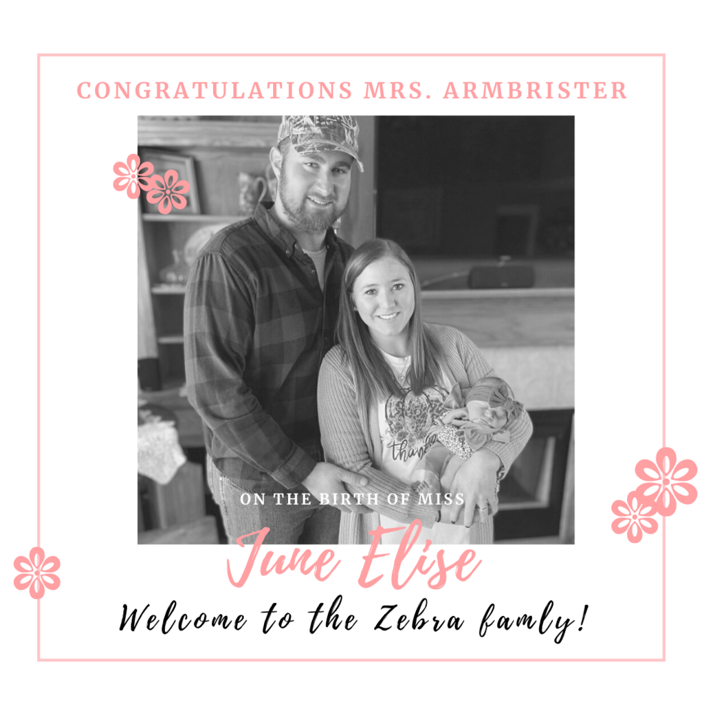 1-2-3-4 babies added to our dazzle of zebras this school year. Congratulations to Mrs. Sarah Armbrister, 2nd grade teacher at Westside, on June Elise Armbrister's birth! She's adorable! Her students and #ZEBRAFAMILY are glad to have her back in the classroom! #CPSZEBRAPRIDE