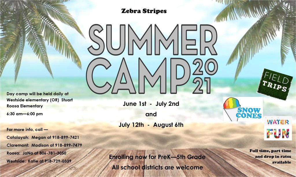 Zebra Stripes Summer Camp enrollment is open!   The enrollment form can be found here: https://core-docs.s3.amazonaws.com/documents/asset/uploaded_file/739238/2021_Summer_Zebra_Stripes_Enrollment_Packet_.pdf   Questions? Reach out to our Zebra Stripes Coordinator, Madison at 918-923-4304 my cell phone at 918-899-7479, or the zebra stripes email at clezs@claremore.k12.ok.us  #CPSZEBRAPRIDE