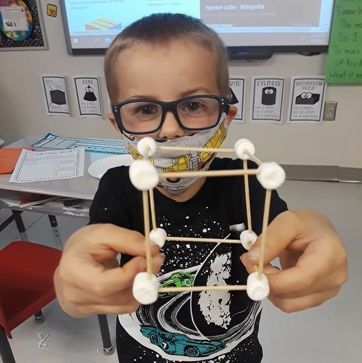 Today we took our knowledge about 3D shapes and built cubes out of toothpicks and marshmallows!