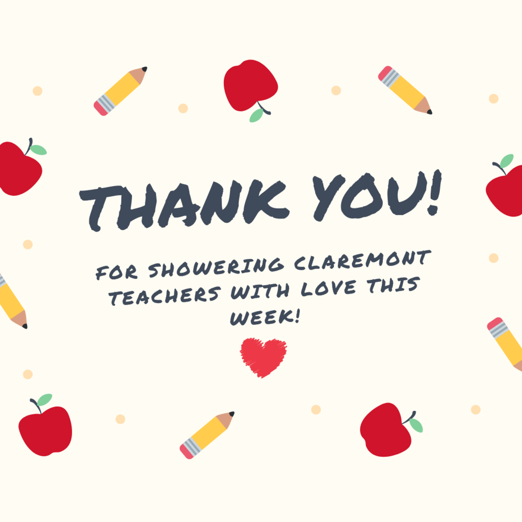 🧡🧡🧡🧡  Thank you to our parents and community for showering Claremont teachers with love this week! We are thankful for how you come alongside us as we work to provide enriching and meaningful education our future generation!  #CPSZEBRAPRIDE