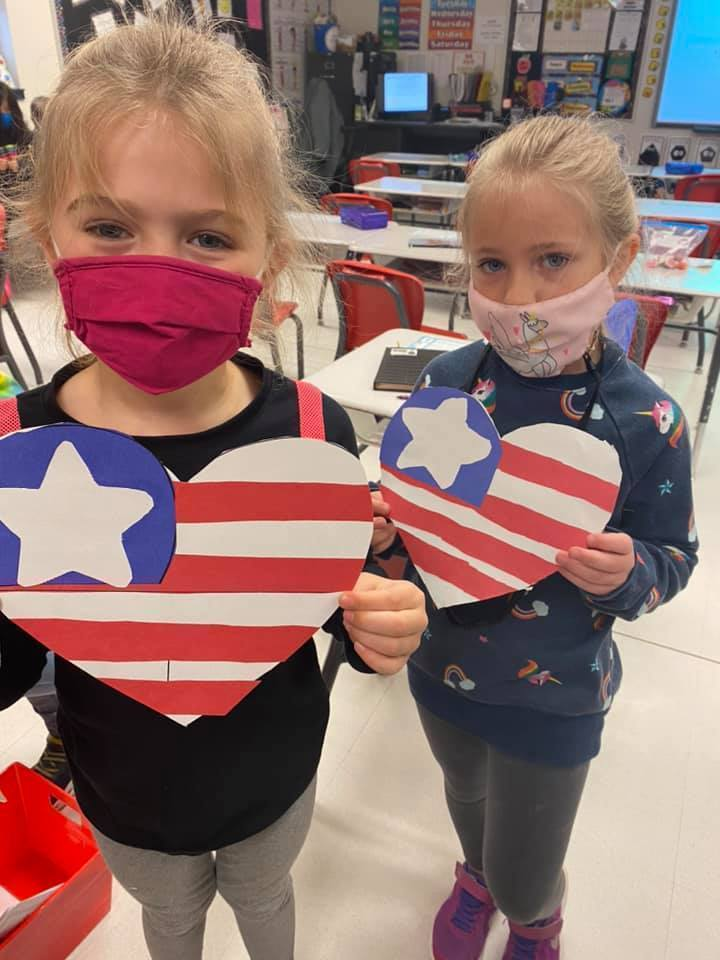 Lewis' Little Learners sent patriotic hearts to our local Blue Star Mothers to send in their boxes to the troops. What a sweet surprise when they received a certificate of appreciation! #CPSZEBRAPRIDE