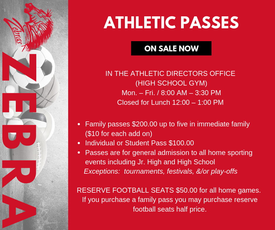 Athletic Passes NOW ON SALE