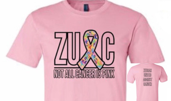 Zebras United Against Cancer Raises Money for Staff & Students battling cancer.  Shirts now on sale.