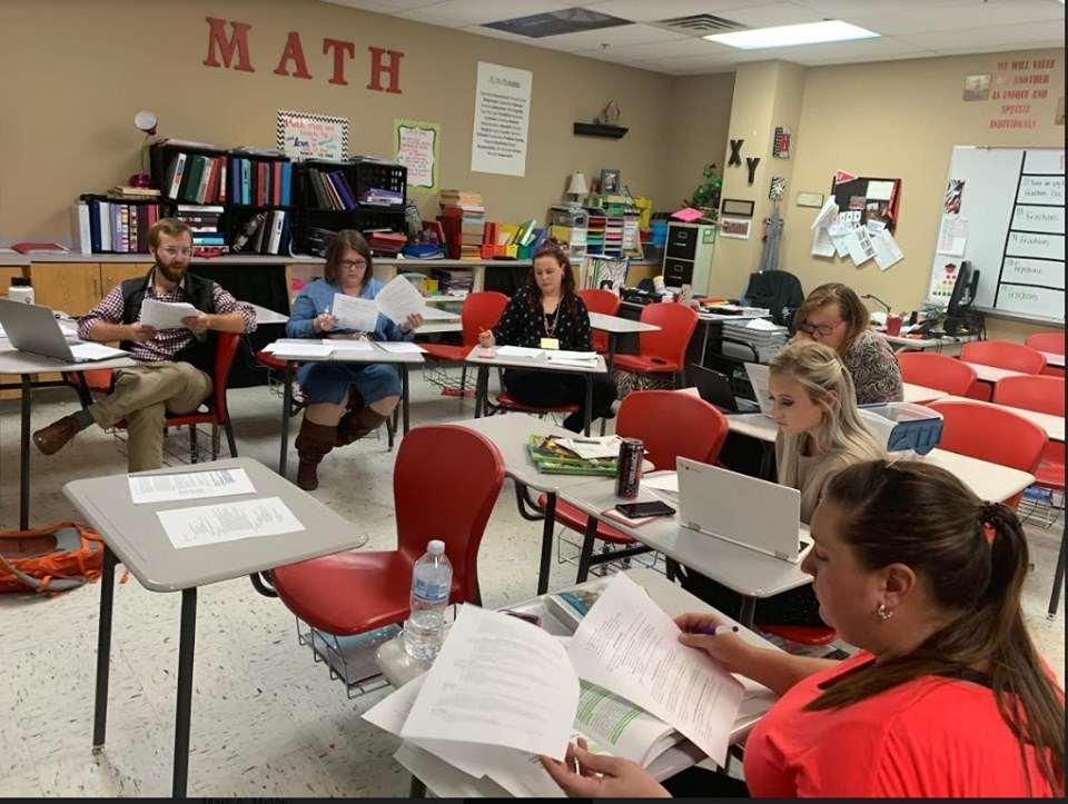 WRJH teachers collaborating after school to create our WIN (What I Need) Schedule