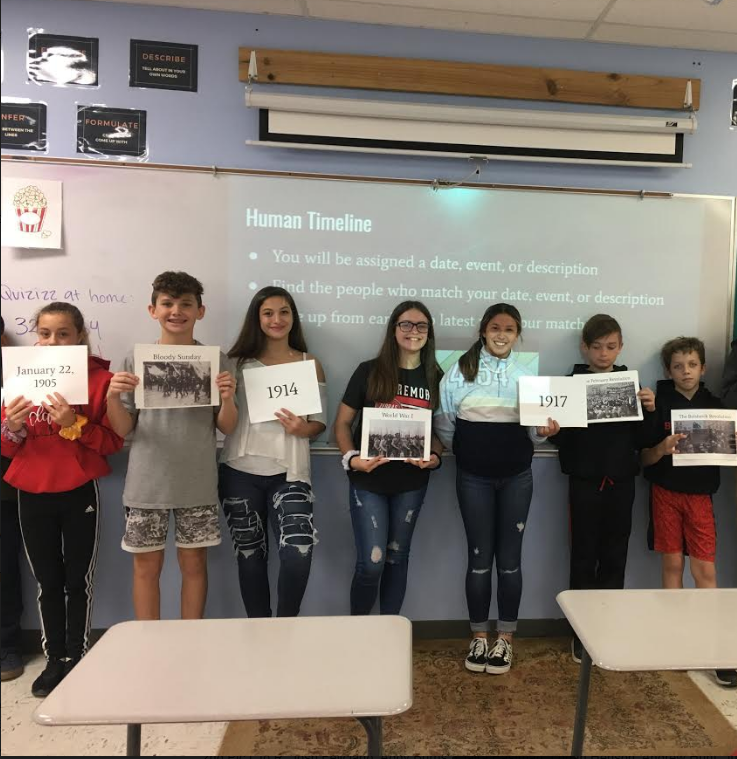Mrs. Cox's Geography class at WRJH made a human timeline today while studying the Russian Revolution.