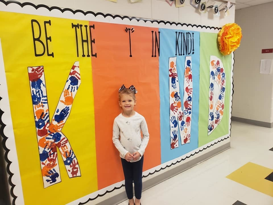 "Mrs. Stolusky kindergarten class at Catalayah reminds us to be the ""I"" in KIND!"