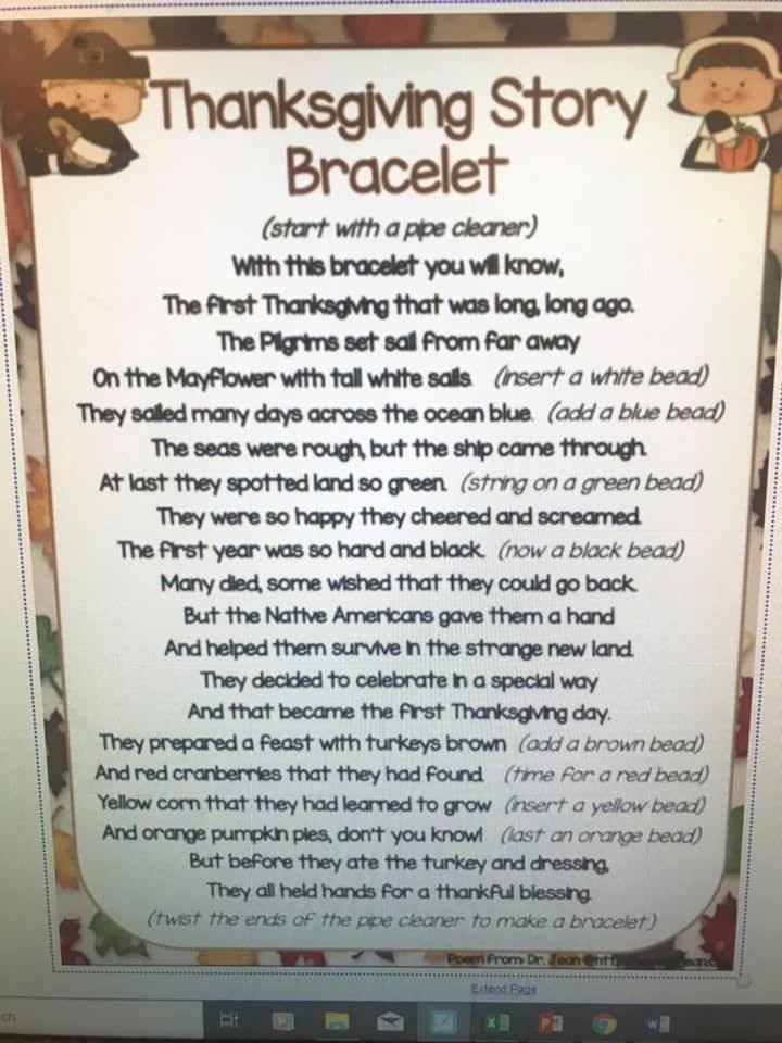 Thanksgiving story told with beads and bracelets