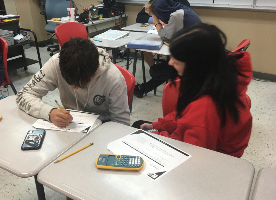 Mrs. Higgins' Algebra 1 class is learning how to calculate statistics.