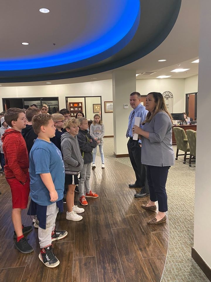 5th grade took a trip to RCB Bank in Claremore to prepare for Biztown
