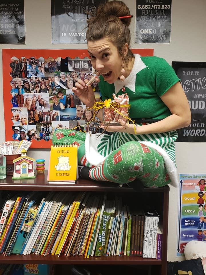 Mrs. Stolusky is welcoming in the Christmas season and all the elves that have shown up at Catalayah.
