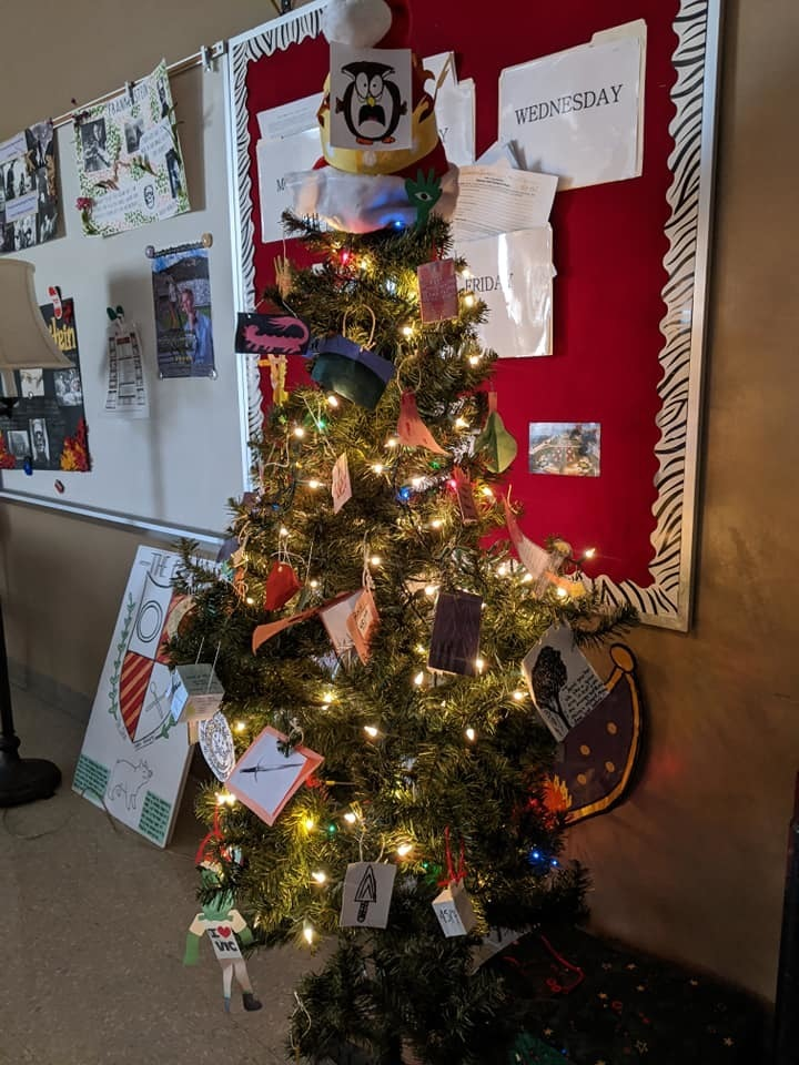 The Literary Holiday tree is coming along nicely this week in Room 607.