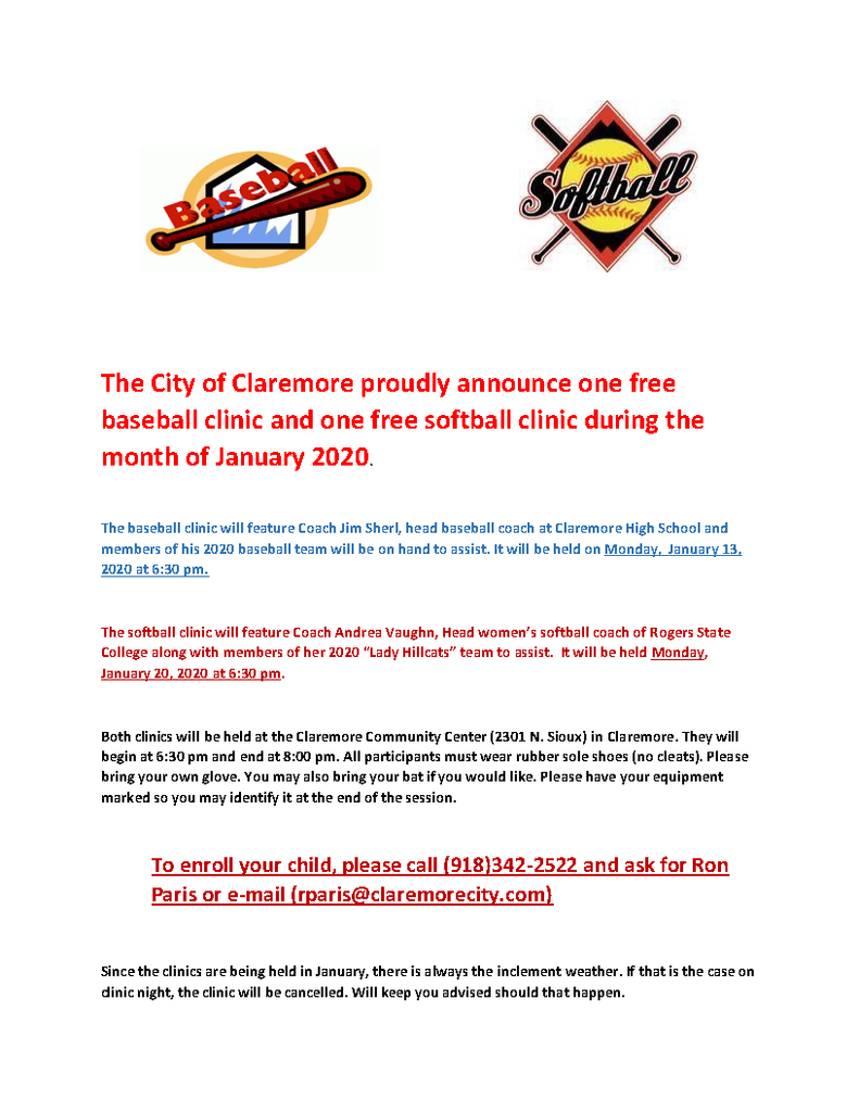 Free Baseball & Softball Clinics