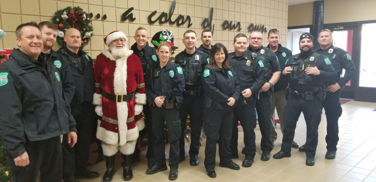 Claremore police department with Santa