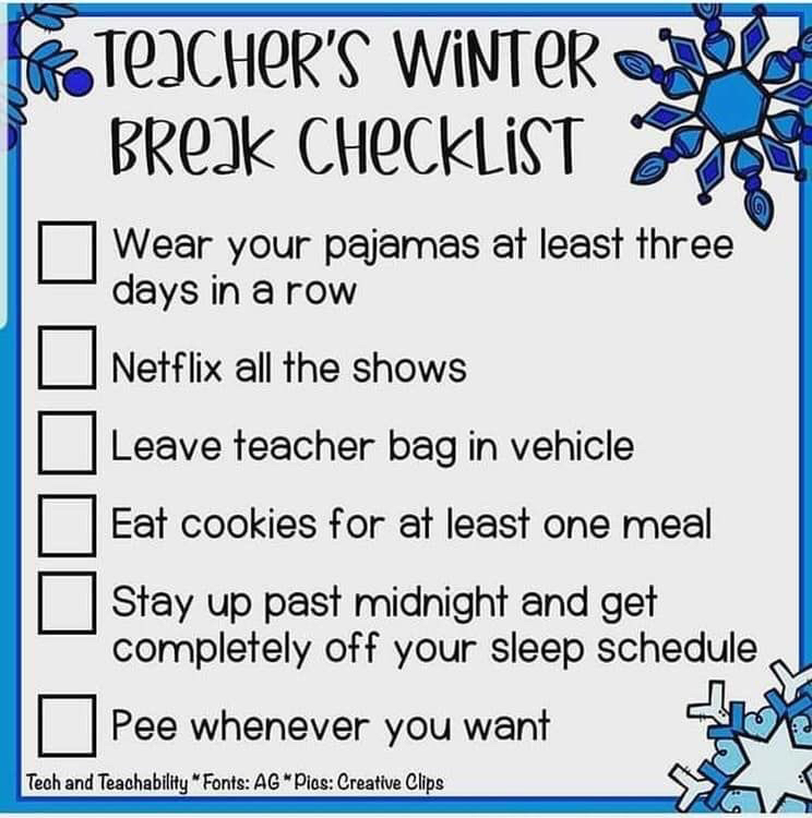 Teachers winter break checklist