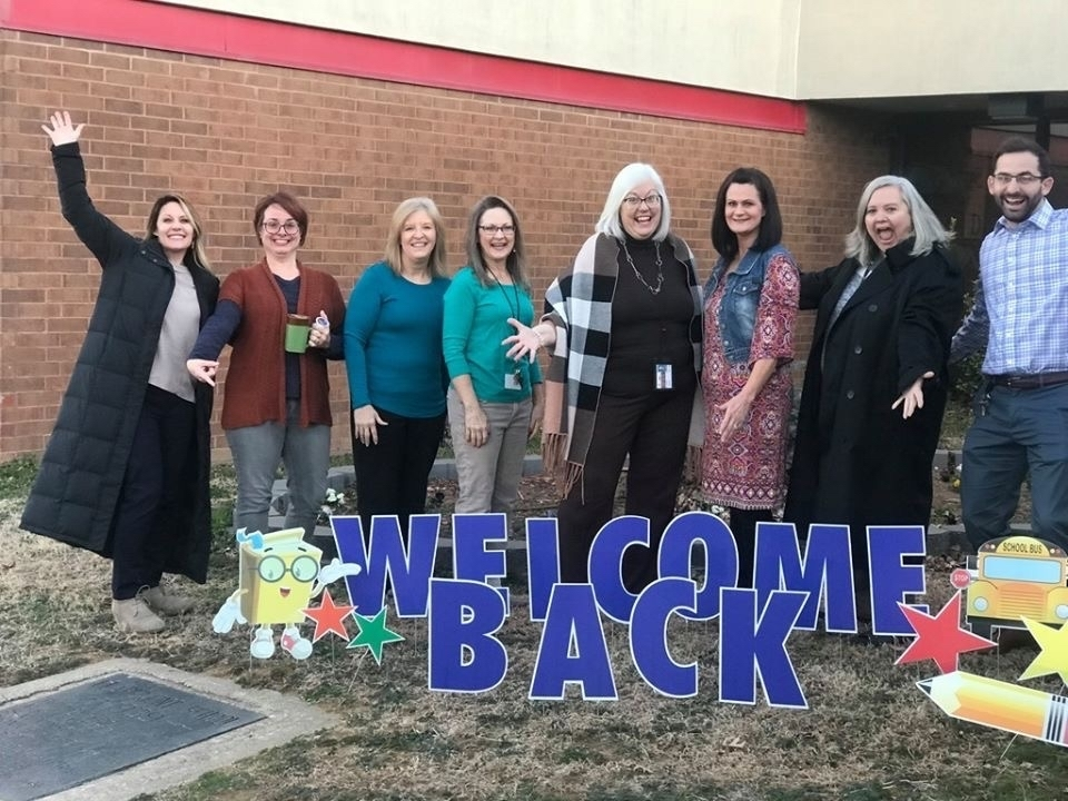 Claremont teachers welcome back their students.