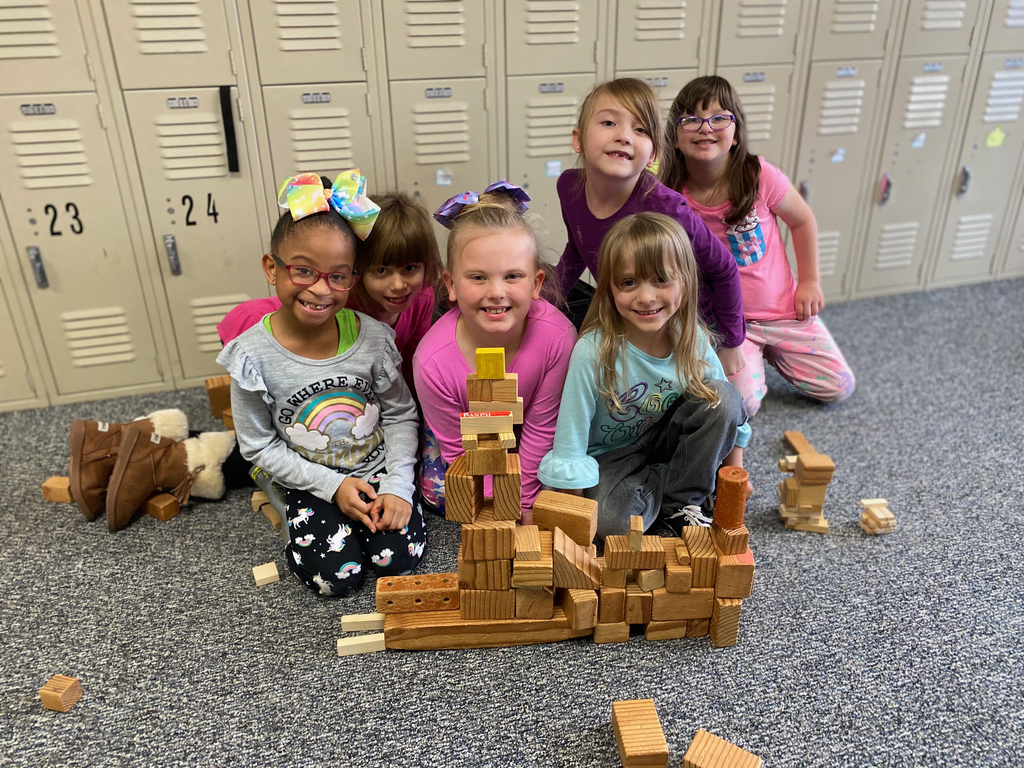 Girls building tower