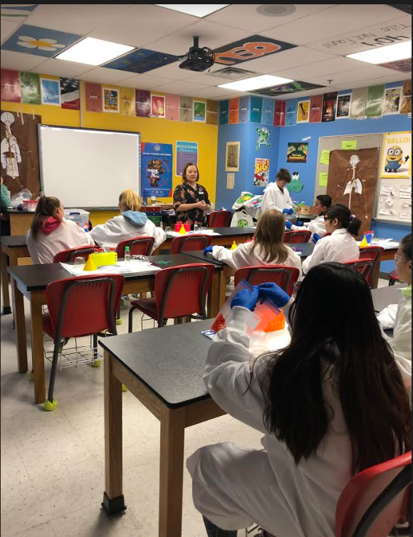 Mrs. Tietz's and Mrs. Simpson's class had guest speakers from the Noble Research Institute to help with this DNA lesson