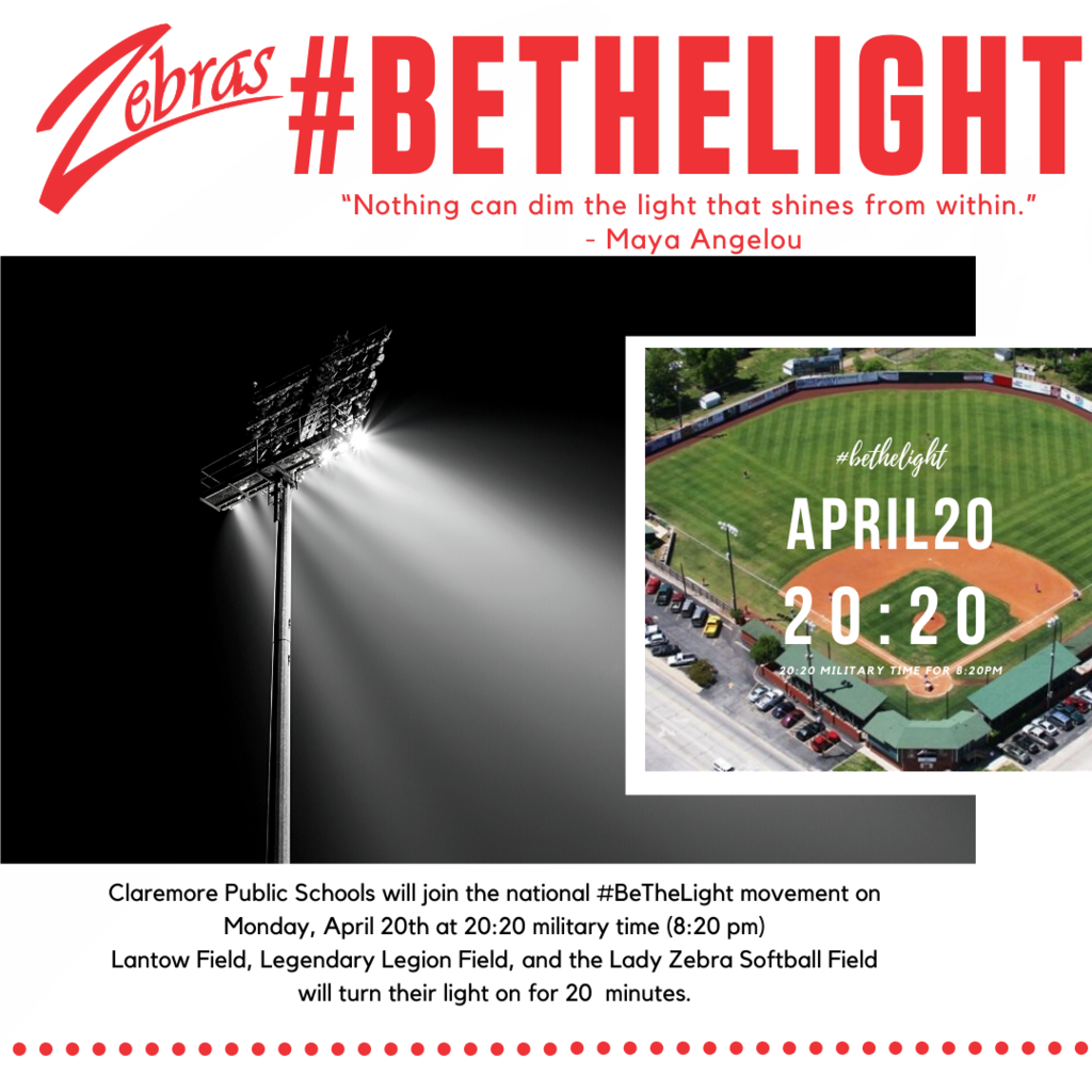 April 20th at 20:20 for 20 minutes #BETHELIGHT for our Class of 2020.
