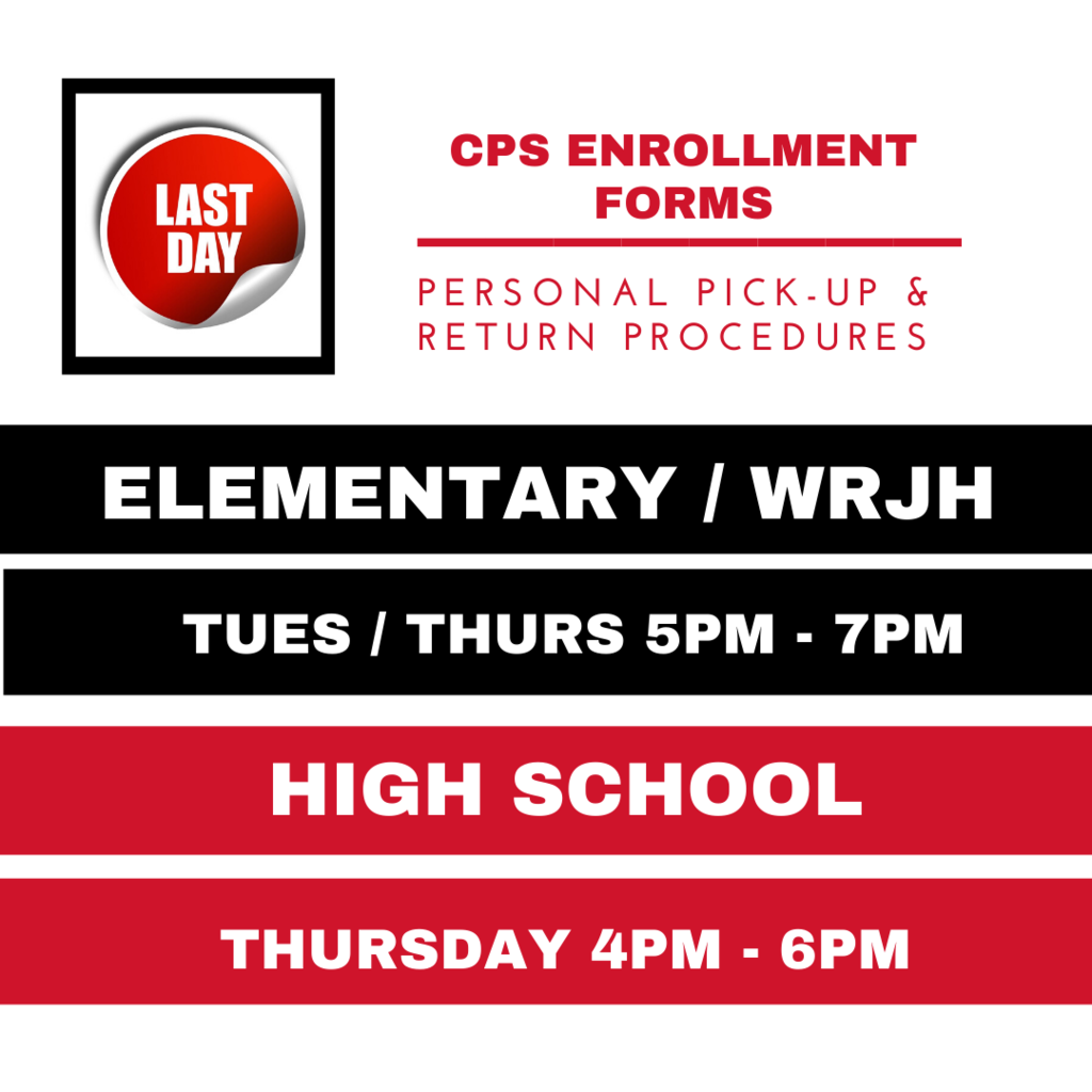 This is the last call for students to pick up or drop off anything at CHS.    Bring back:  ENROLLMENT FORMS, CALCULATORS, TEXT/LIBRARY BOOKS, EQUIPMENT, OR UNIFORMS.   Seniors: if you have not picked up your senior yard sign, we will have those available, also.   NOTE:  Current students that do not turn in an enrollment form will not be enrolled for the 20-21 school year.  If you can not drop off your enrollment packet, you can scan it and email it to the site registrar.