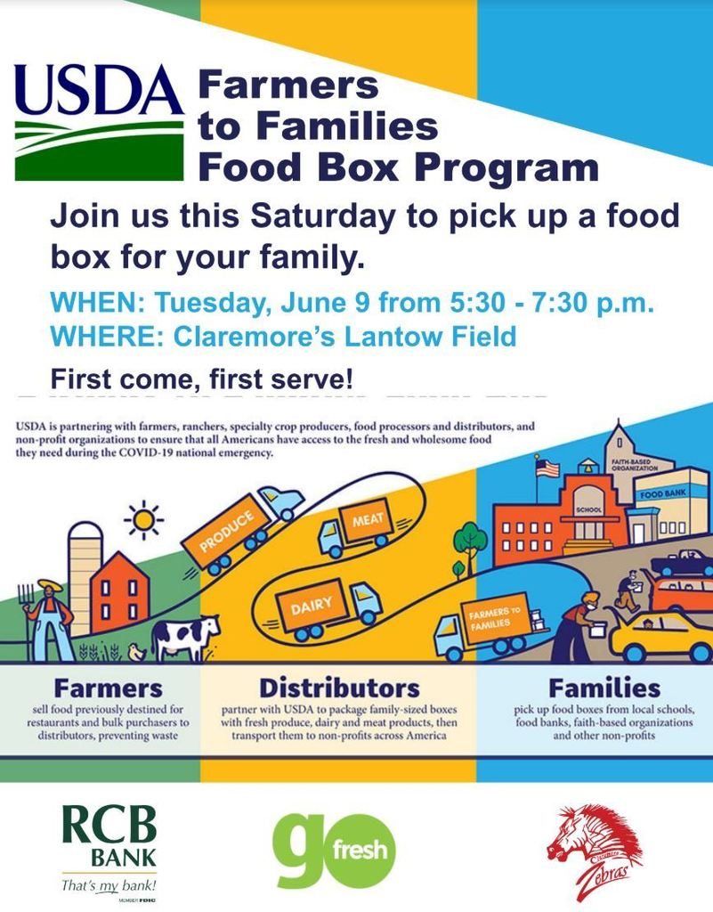 Together with Go Fresh and RCB, CPS  will be distributing boxes of fresh fruit and dairy to Claremore Public School families on April 9th from 5:30 PM - 7:30 PM (or until supplies last) at Lantow Field.