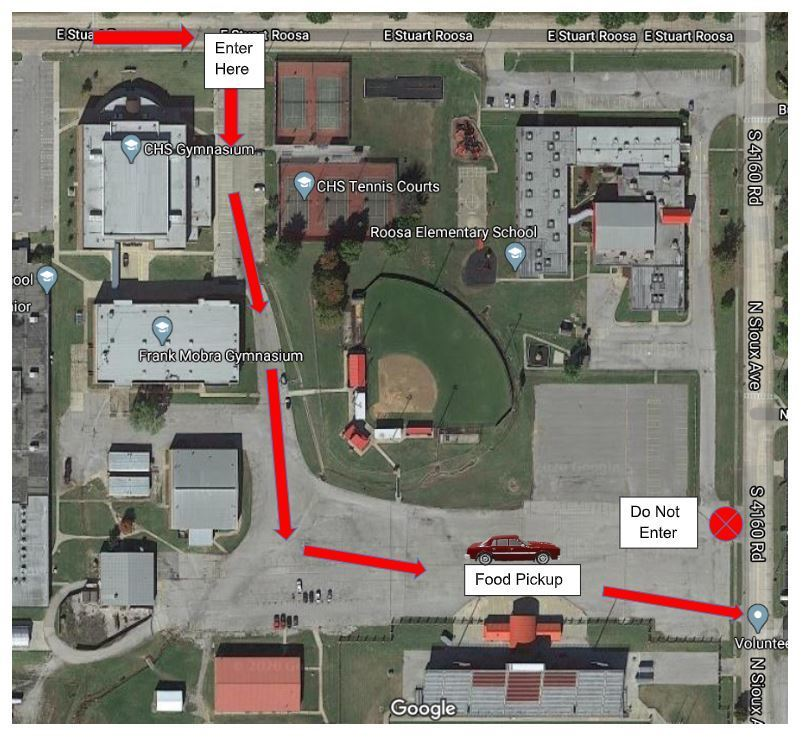 We will enter off Stuart Roosa between the tennis courts and the new gym.  Follow the cones and volunteer directions to the entrance of Lantow Field and exit out onto Sioux.